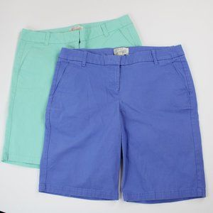 J. Crew Bermuda Shorts Size 4 Lot of 2 Blue Teal